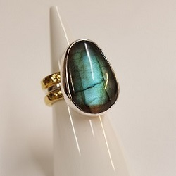 £250 Labradorite handmade ring set