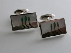 65023 - Tree Land & Sky Cufflinks in Sterling Silver