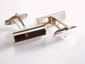 65025 - Amber Cufflinks in Sterling Silver