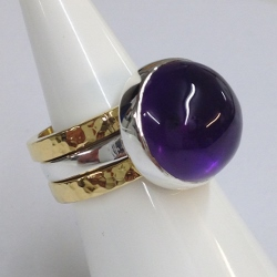 68438 - Handmade 18ct Vermeil & Silver 3 piece Ring set in Sterling Silver with Amethyst