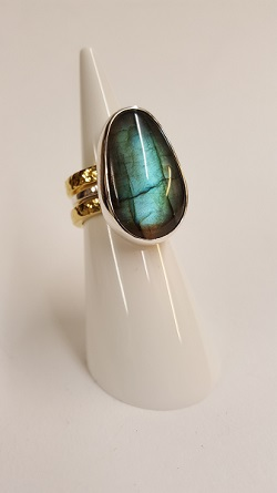 68737 - Handmade 18ct Vermeil & Silver 3 piece Ring set with Labradorite in Sterling Silver