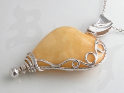 65568 - Yellow Amber Heart on Sterling Silver Chain