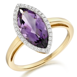 65730 - Amethyst & Diamond Marquise Cluster Ring in 18ct Gold