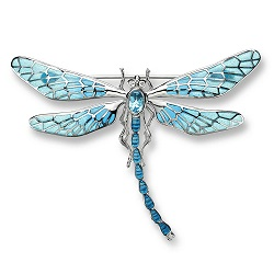 £323 Enamel, Diamond & Blue Topaz Dragonfly