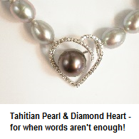 Tahitian Pearl & Diamond Heart Necklet