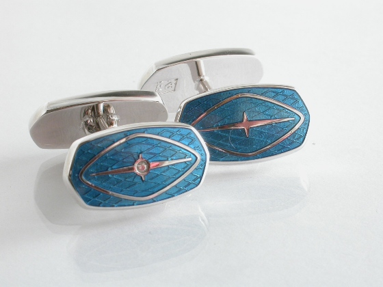 65021 - Turquoise Cufflinks in Sterling Silver