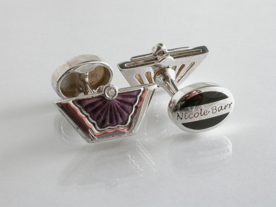 65022 - Violet Enamel Cufflinks in Sterling Silver