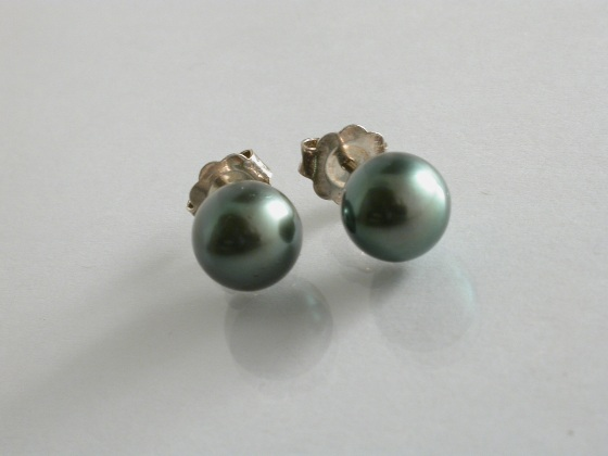 65132 - 8.4mm Tahitian Cultured Pearl Earrings in Sterling Silver
