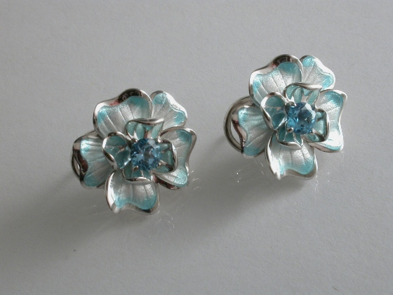65223 - Blue Topaz set Flower Earrings in Blue tinged Enamel