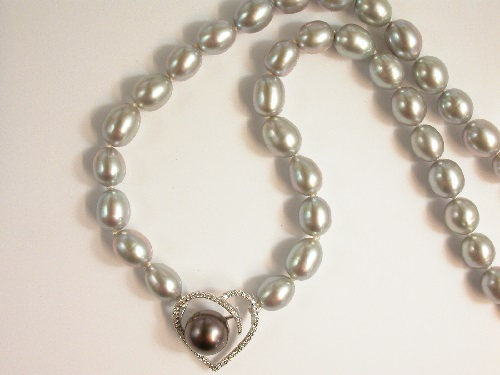 65608 - Tahitian Pearl & Diamond and Cultured Pearl Necklace