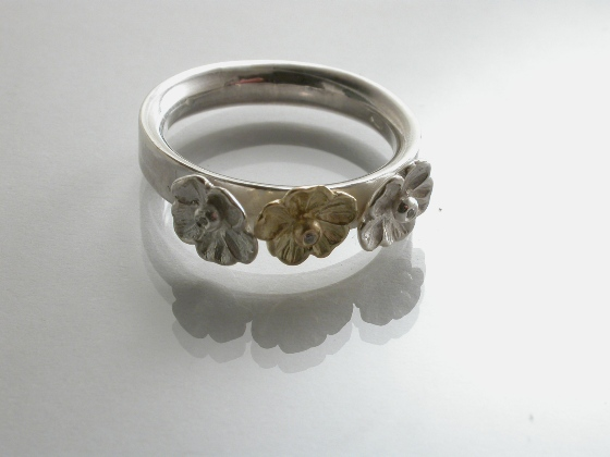 67273 - Inspired Flower Ring in Sterling Silver & 18ct Gold with Diamonds