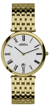 67476 - Michel Herbelin Large sized Slimline Gold Plated Bracelet Watch