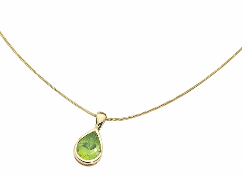 69345 - Peridot Pendant & chain in 9ct Yellow Gold