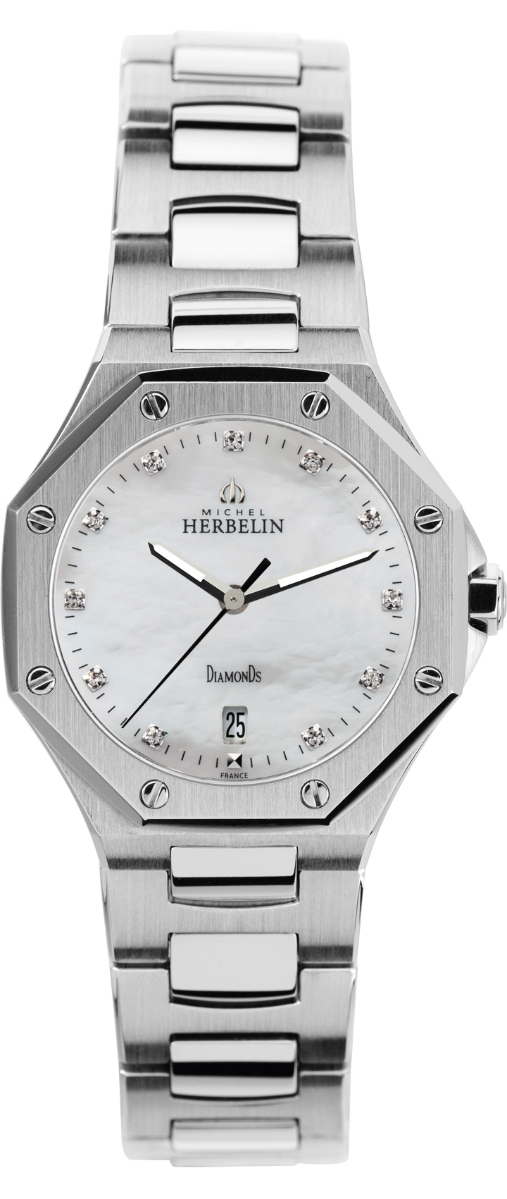 67931 - Michel Herbelin Small Odyssey Diamond set Steel Bracelet Watch