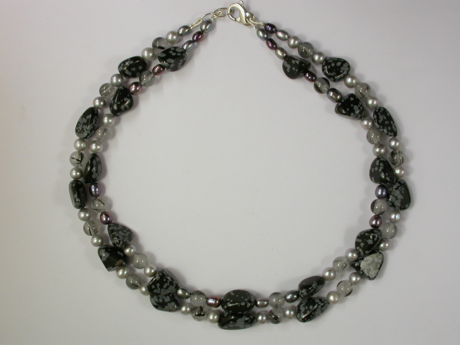 69112 - Fluorite,Apatite & White Pearl 2 Row with silver clasp