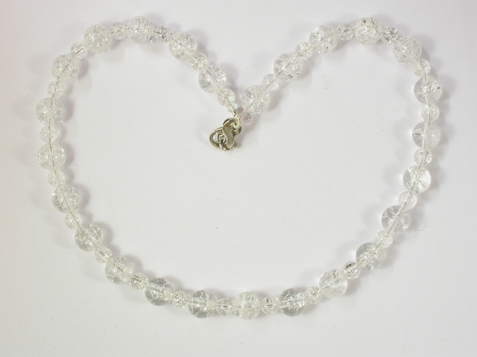 68070 - Facetted Rock Crystal Necklace with silver clasp