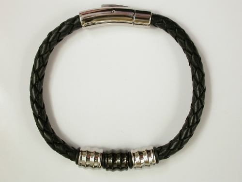 68198 - Black leather plaited bracelet with multi-colour roller decoration & steel clasp