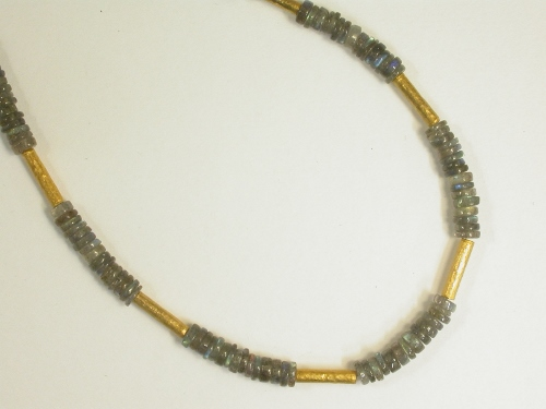 68220 - Labradorite beads with handmade 18ct Vermeil tube & fittings