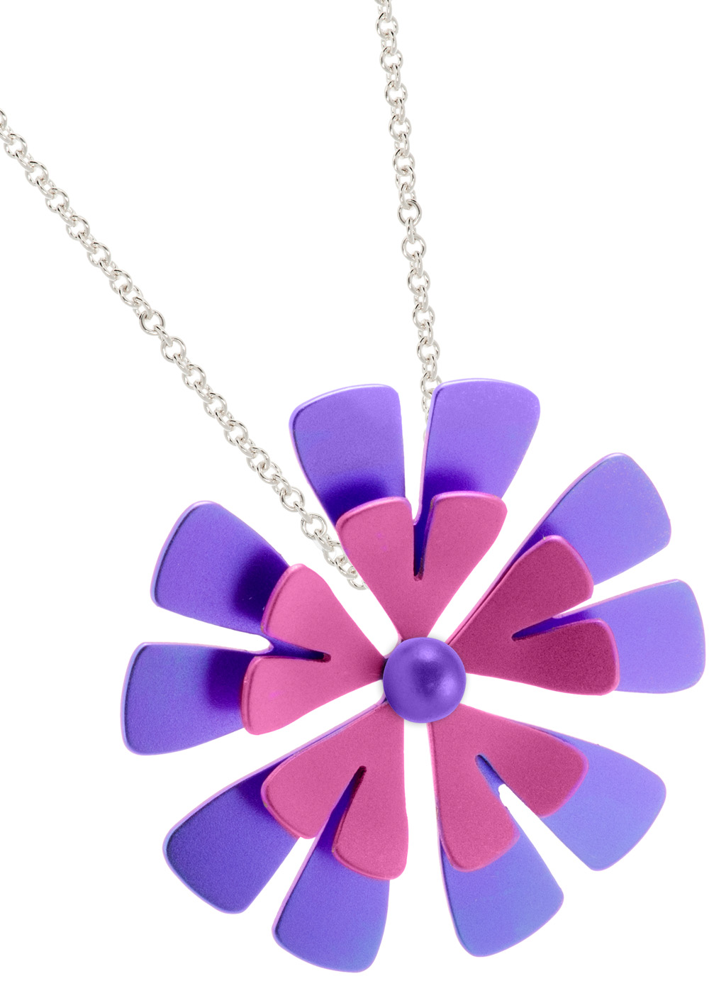 68334 - Titanium Flower pendant on silver chain