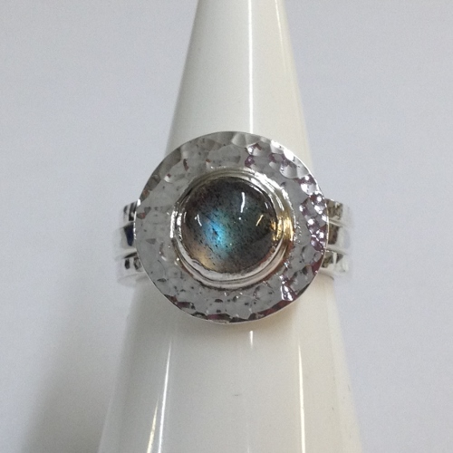 68423 - Handmade 18ct Vermeil & Silver 3 piece Ring set with Labradorite in Sterling Silver