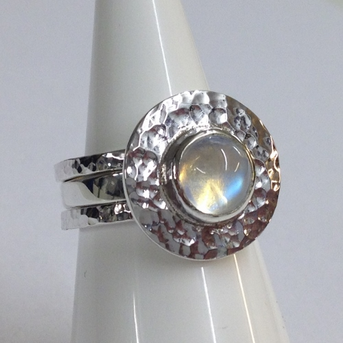 68426 - Handmade 3 piece Ring set with Rainbow Moonstone in Sterling Silver