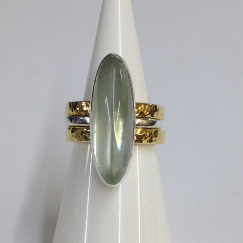 68440 - Handmade 18ct Vermeil & Silver 3 piece Ring set in Sterling Silver with Moonstone