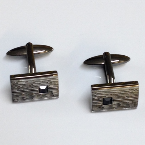 68474 - Black crystal inset Cufflinks in Steel