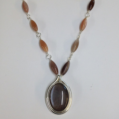 68542 - Handmade pendant set with Moonstone & beads in Sterling Silver