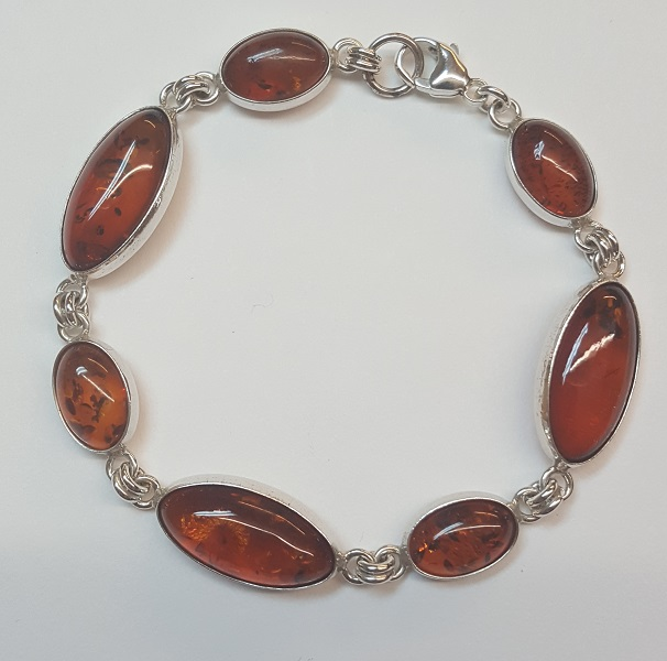 68724 - Golden Amber Bracelet in Sterling Silver