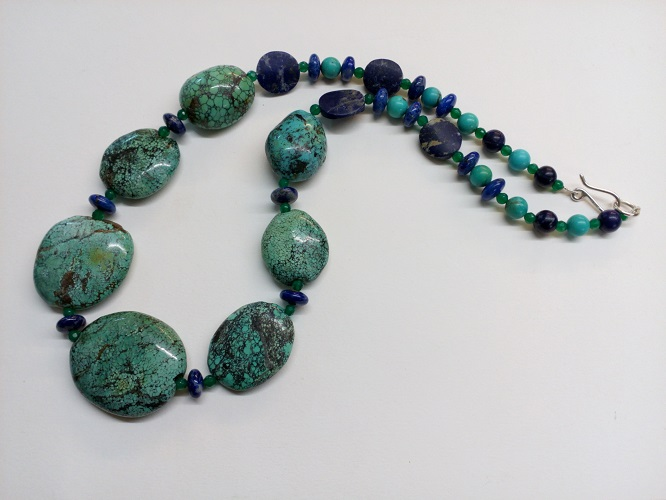 68869 - Lapis, Turquoise & Green Onyx bead necklace with handmade silver fittings