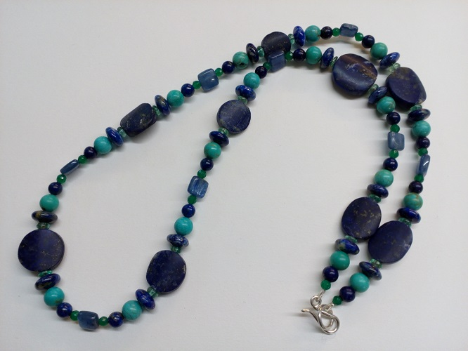 68870 - Lapis, Turquoise, Kyanite, Apatite & Green Onyx bead necklace with handmade silver fittings