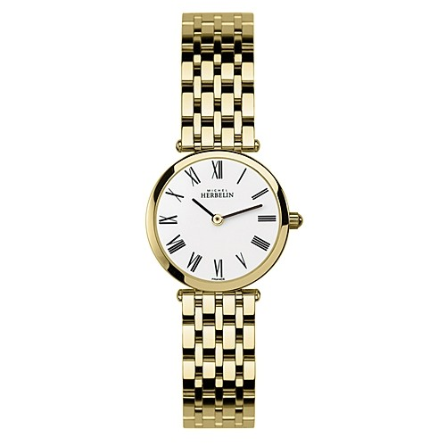 68970 - Michel Herbelin Small sized Yellow Gold Plated Slimline Strap Watch