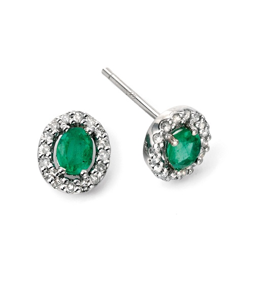 68989 - Emerald & Diamond Cluster Stud Earrings in 9ct White Gold