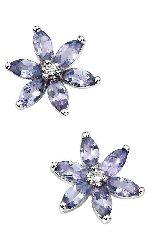 68993 - Tanzanite & Diamond Cluster Stud Earrings in 9ct White Gold