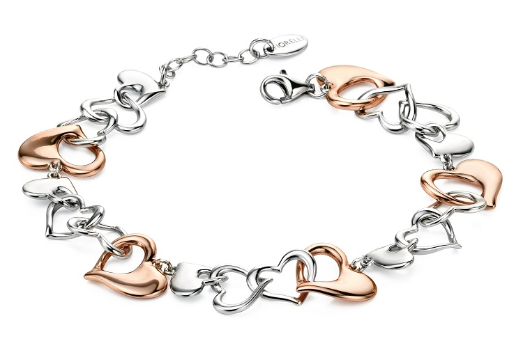 68996 - Fiorelli Multi Linked Heart Bracelet in Sterling Silver with Rose Gold plated highlights