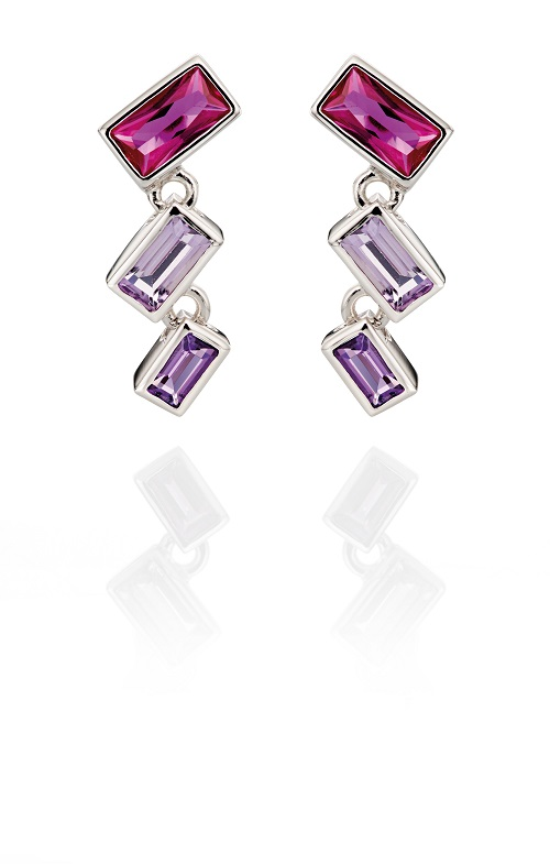 68999 - Fiorelli Pink & Purple Multi-stone Drop Earrings in Sterling Silver