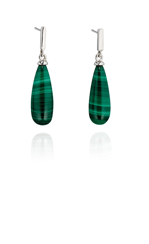 69001 - Fiorelli Malachite Drop Earrings in Sterling Silver