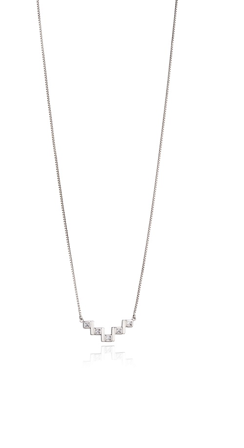 69007 - Fiorelli CZ Zig Zag necklace in Sterling Silver