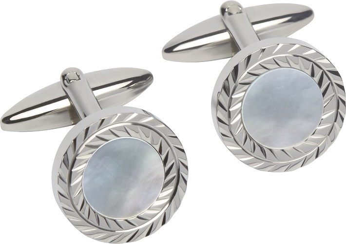 69029 - Mother of Pearl inset Cufflinks in Steel