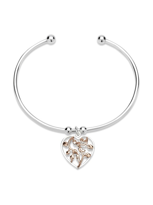 69045 - Sterling Silver Torq Bangle with charm