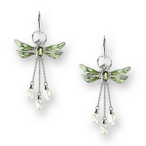 69055 - Green enamel Dragonfly drop Earrings