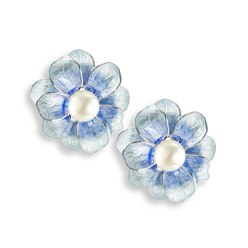 69064 - Blue enamel Camelia stud Earrings