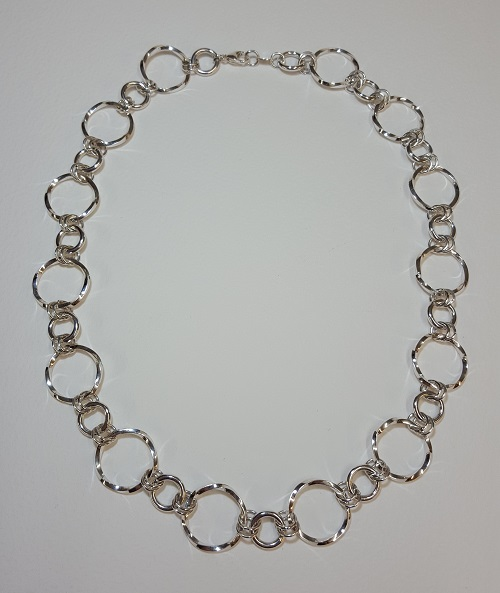 69119 - Handmade sterling silver twisted hoop necklace