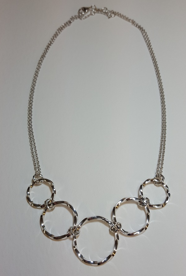 69123 - Handmade sterling silver twist hoop necklace