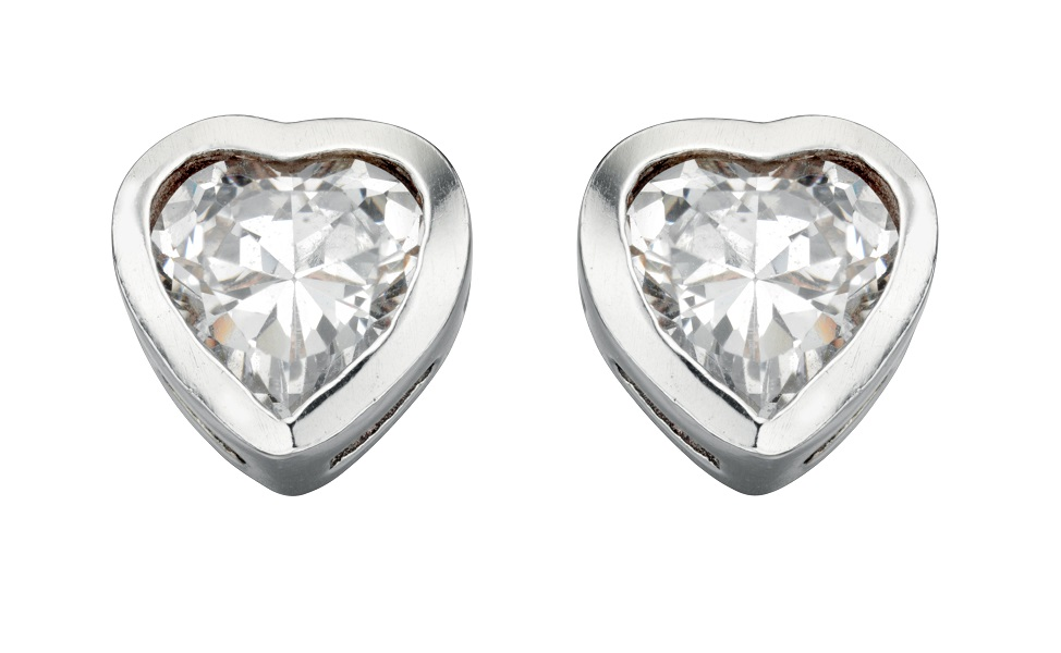 69174 - White coloured crystal Stud Earrings in Sterling Silver