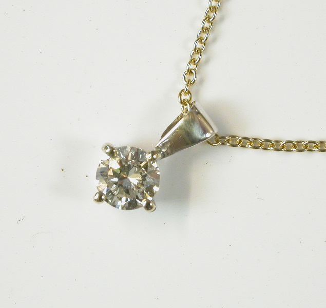 69310 - Diamond Pendant set in 9ct white gold on 9ct yellow gold Chain