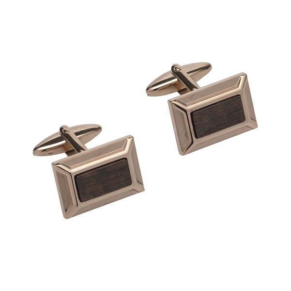 69539 - Stainless Steel cufflink with Leopard Wood inlay