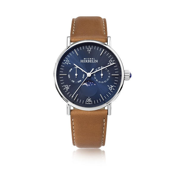 69620 - Michel Herbelin Large sized Moonphase Stainless Steel Strap Watch