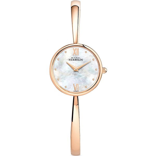 69627 - Michel Herbelin rose gold plated Bangle Watch
