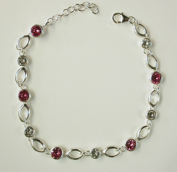 69639 - Bracelet with Pink & white Swarowski crystals set in silver